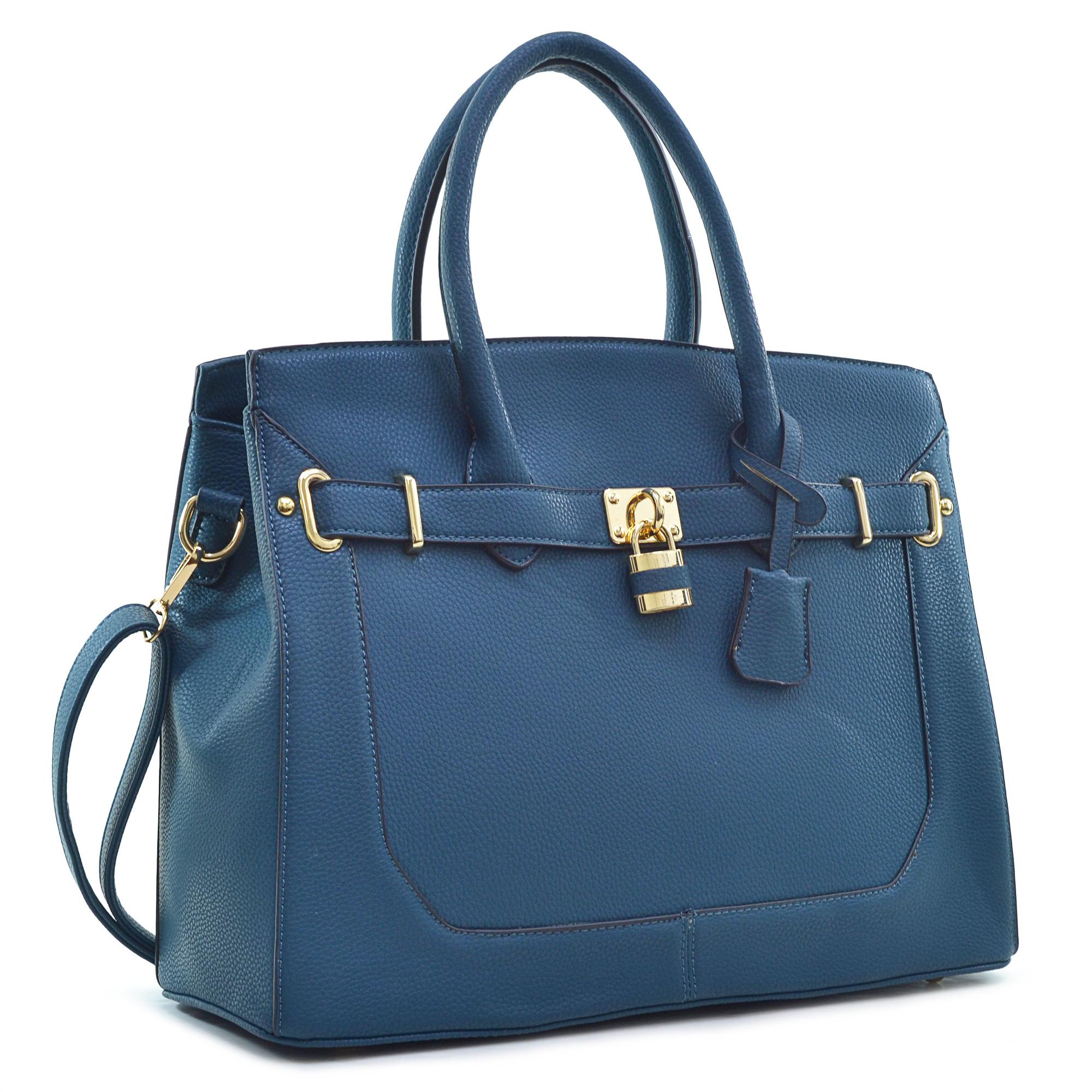 c03dd72170 Saffiano Birkin Style Padlock And Key Handbag With Cross Body